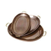 Old Dutch 3 Piece Oval Serving Tray Set; Hammered Copper