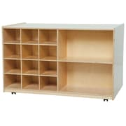 Wood Designs Double Mobile Storage Unit 14 Compartment Cubby; No Tray