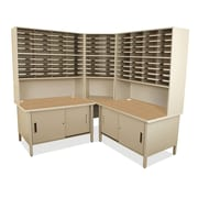Marvel Office Furniture Mailroom 100 Slot Organizer with Cabinet; Putty