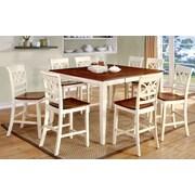 Hokku Designs Exenia 9 Piece Counter Height Pub Dining Set; Cream White / Cherry