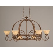 Toltec Lighting Leaf 8 Light Chandelier Pot Rack w/ Italian Marble Glass Shade