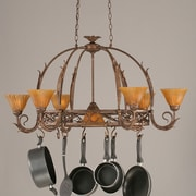 Toltec Lighting Leaf 8 Light Chandelier Pot Rack w/ Tiger Glass Shade