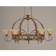 Toltec Lighting Leaf 8 Light Chandelier Pot Rack w/ Crystal Glass Shade