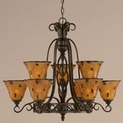 Toltec Lighting Elegant  9-Light Shaded Chandelier; Pen Shell Resin