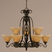 Toltec Lighting Elegant  9 Light Chandelier with Marble Glass; Amber Crystal Glass