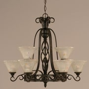 Toltec Lighting Elegant  9 Light Chandelier with Marble Glass; Frosted Crystal Glass