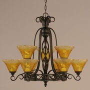 Toltec Lighting Elegant  9 Light Chandelier with Marble Glass; Gold Champagne Crystal Glass