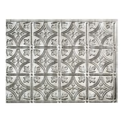 Fasade Traditional #1 24.25'' x 18.25'' PVC  Backsplash Panel in Crosshatch Silver Kit