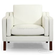Kardiel Monroe Mid Century Modern Leather Guest Chair; Arctic White