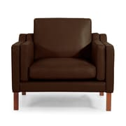 Kardiel Monroe Mid Century Modern Leather Guest Chair; Coco Brown