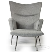 Kardiel Wing Arm Chair and Ottoman in Twill; Dacite Twill