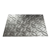 Fasade Rings 24.25'' x 18.25'' PVC Backsplash Panel in Crosshatch Silver Kit