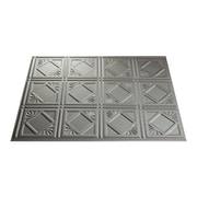 Fasade Traditional #4 24.25'' x 18.25'' PVC  Backsplash Panel in Argent Silver Kit