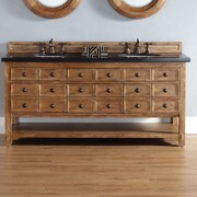 James Martin Furniture Malibu 72'' Double Bathroom Vanity Set; Absolute Black Polished Granite Top