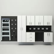 Flow Wall 6' H x 12' W  x 1.4' D 24 Piece Wall Storage and Cabinet Set; Black / White