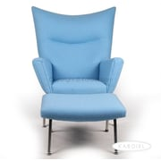 Kardiel Wing Arm Chair with Ottoman; Light Blue