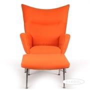 Kardiel Wing Arm Chair with Ottoman; Orange