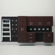 Flow Wall Deluxe 6' H x 8' W x 17'' D 7 Piece Cabinet Set; Black / Espresso