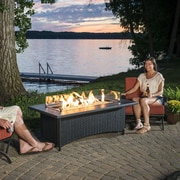 The Outdoor GreatRoom Company Montego Crystal Fire Pit Coffee Table with Wicker Base; Black