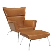 Modway Class Leather Lounge Chair and Ottoman; Tan