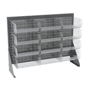 Akro Mils 39.88'' H Twelve Shelf Low Profile Floor Rack; Gray/Red