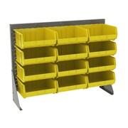 Akro Mils 39.88'' H Twelve Shelf Low Profile Floor Rack; Gray/Yellow