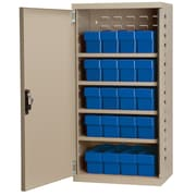 Akro Mils 38''H x 19.25''W x 13.25''D 16 Drawer Storage Cabinet; Putty/Blue