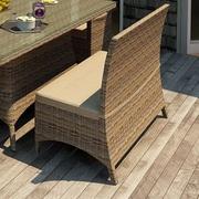 Forever Patio Cypress Wicker Loveseat Bench with Cushion; Spectrum Mushroom / Spectrum Sand Welt