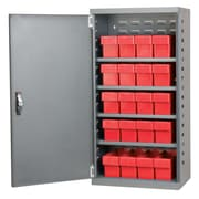 Akro Mils 38''H x 19.25''W x 13.25''D 16 Drawer Storage Cabinet; Gray/Red