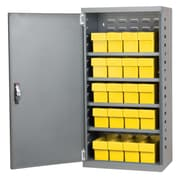 Akro Mils 38''H x 19.25''W x 13.25''D 16 Drawer Storage Cabinet; Gray/Yellow