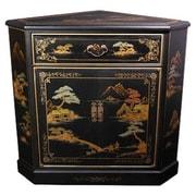 Oriental Furniture Japanese Crackle Corner Cabinet; Black