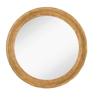 Majestic Mirror Round Simple Natural Wood Framed Hanging Glass Wall Mirror