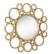 Majestic Mirror Unique Circular Polished Gold Decorative Framed Beveled Glass Wall Mirror