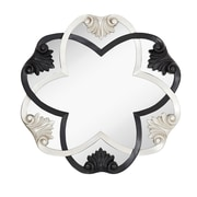 Majestic Mirror Glamourous Black and Silver Leaf Circular Decorative Wall Mirror
