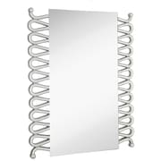 Majestic Mirror Rectangular Modern Accent Mirror with Silver Leafs Details