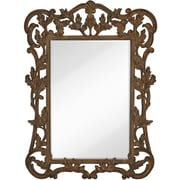 Majestic Mirror Oversized Traditional Rectangular Walnut With Black Rub Beveled Glass Wall Mirror