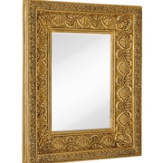 Majestic Mirror Large Traditional Bright Gold Leaf Rectangular Beveled Glass Wall Mirror