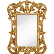 Majestic Mirror Oversized Traditional Rectangular Gold Leaf Beveled Glass Wall Mirror