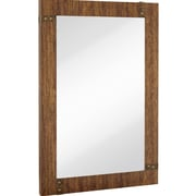 Majestic Mirror Large Rectangular Mirror with Stained Wood Frame and Brass Accents