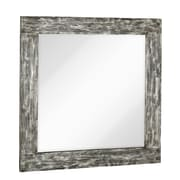 Majestic Mirror Square Mirror with Black Rubbed Silver Leaf Wood Frame