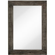 Majestic Mirror Rectangle Stained Wood Beveled Accent Mirror