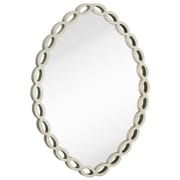 Majestic Mirror Contemporary Oval Silver Leaf White Unique Hanging Glass Wall Mirror