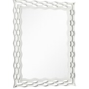 Majestic Mirror  Modern Rectangular Semi-Gloss White Unique Hanging Glass Wall Mirror