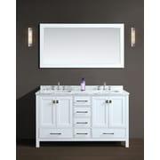 Ari Kitchen & Bath Bella 60'' Double Bathroom Vanity Set w/ Mirror; White