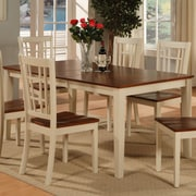 East West Nicoli Dining Table; Buttermilk and Saddle Brown Cherry