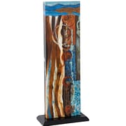 Majestic Mirror Unique Rectangular Abstract Freestanding Colorful 3D Mixed Media Art  Style One