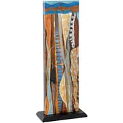 Majestic Mirror Unique Rectangular Abstract Freestanding Colorful 3D Mixed Media Art  Style Two