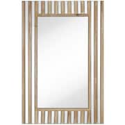 Majestic Mirror Rectangular Mirror With Natural Wood Stripes Beveled Glass Hanging Wall Mirror