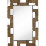 Majestic Mirror Rectangular Mirror Light Walnut Wood Beveled Glass Hanging Wall Mirror