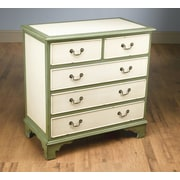 AA Importing 5 Drawer Chest; Antique Cream/Green